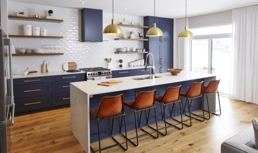 Blue kitchens Ottawa new homes