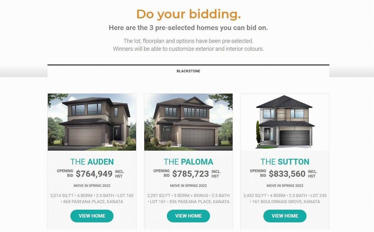 Cardel Homes blackstone online bidding