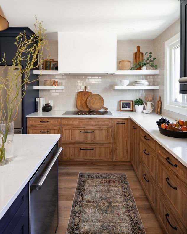 two-tone kitchen wood blue cabinets