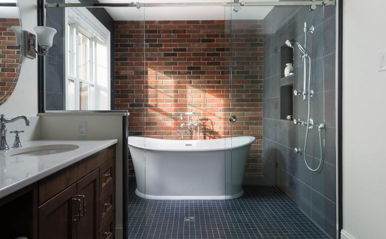 2019 NKBA awards Ottawa bathroom brick feature wall wet zone