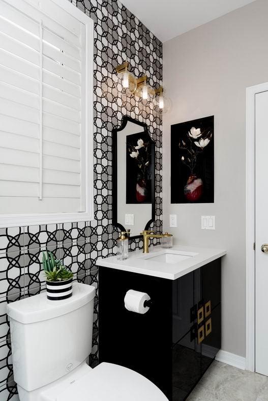 Ottawa powder room geometric tile