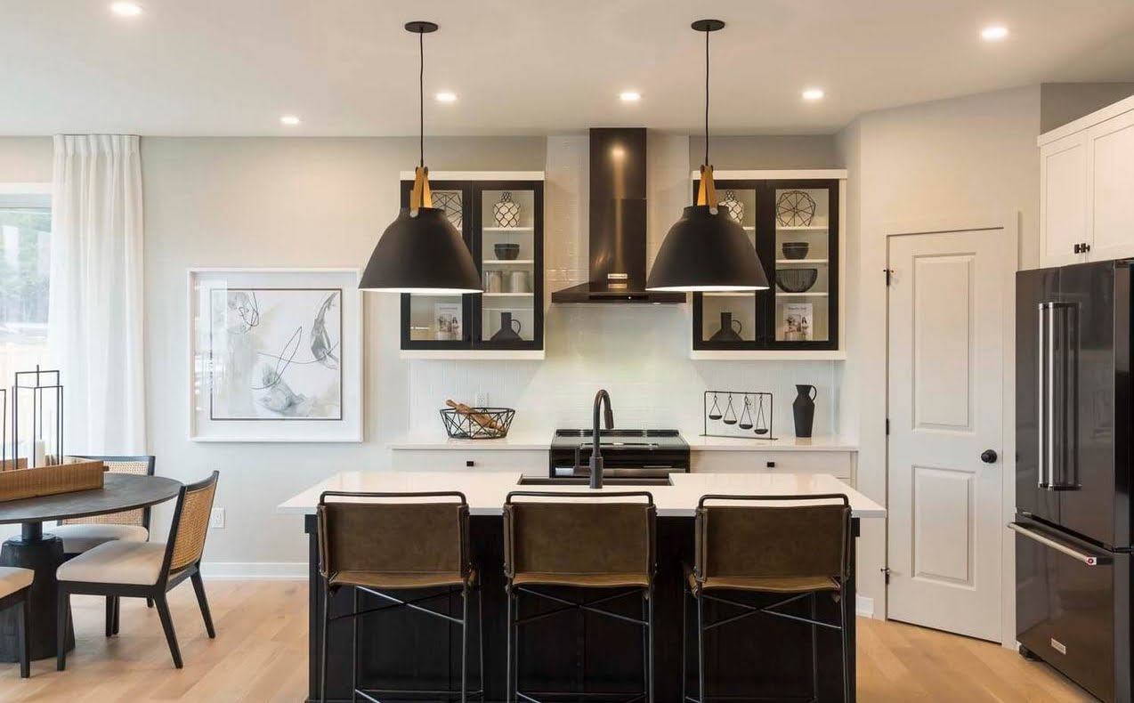 EdenWylde models Ottawa new homes black and white kitchen