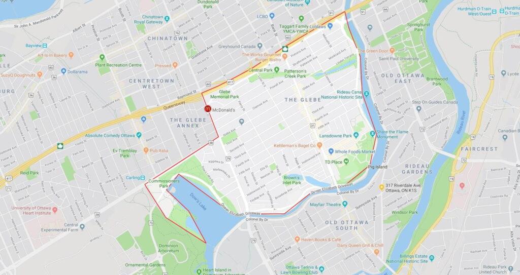 boundary The Glebe Ottawa map outlines boundaries
