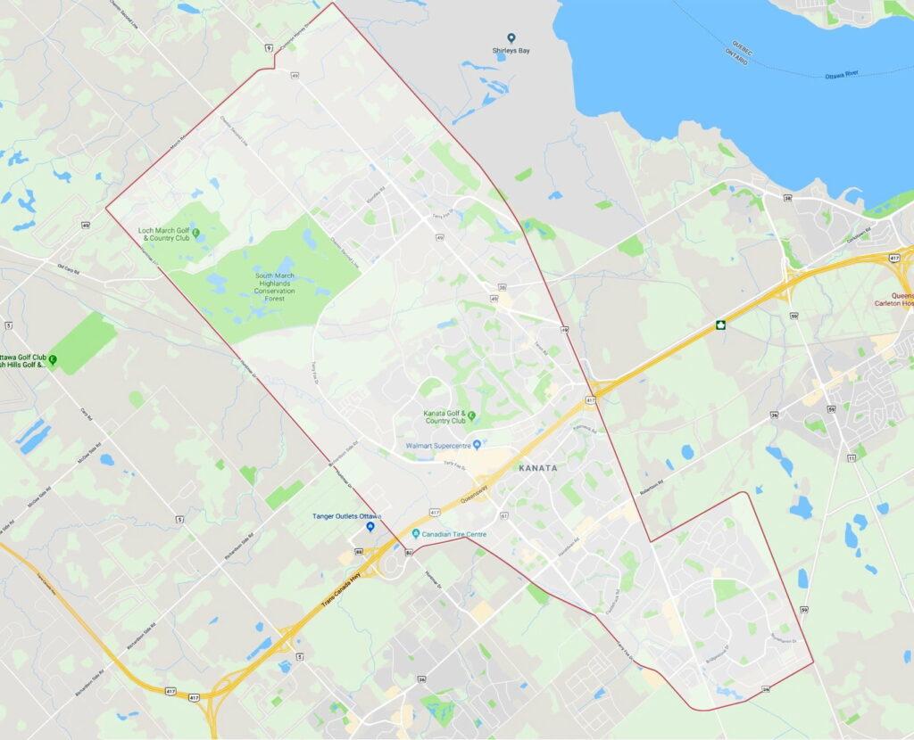 map outline Kanata Ontario