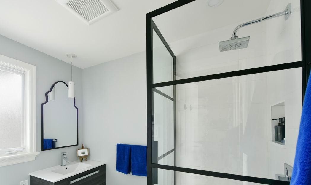Bathroom renovation showing the exhaust fan
