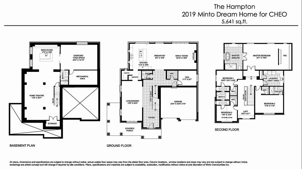 Minto dream home CHEO Dream of a Lifetime Lottery floor plan