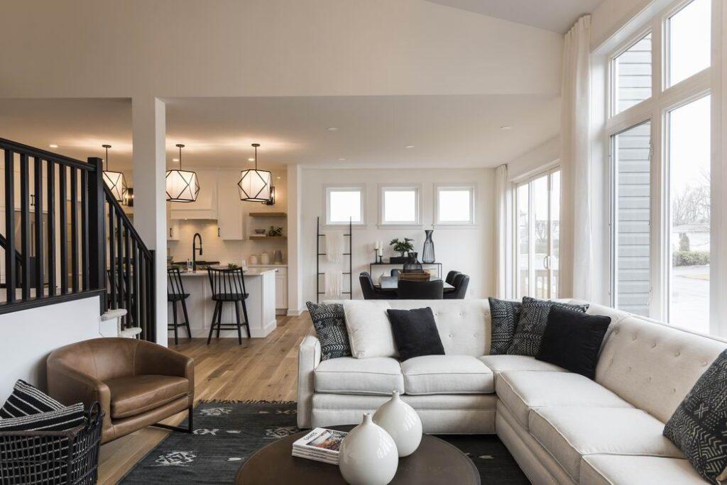 Nichols model home Cardel Homes Creekside Richmond living room open concept