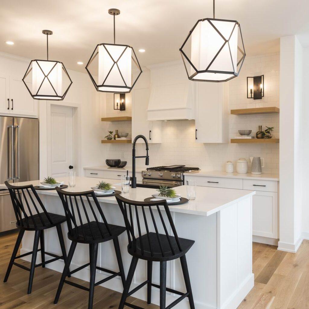 Nichols model home Cardel Homes Creekside Richmond kitchen island black and white