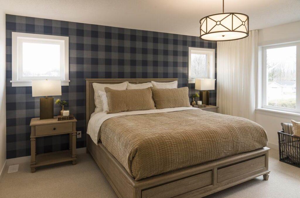 Nichols model home Cardel Homes Creekside Richmond master bedroom plaid wallpaper
