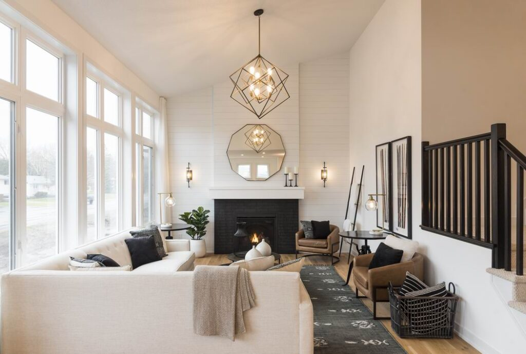 Nichols model home Cardel Homes Creekside Richmond great room living room fireplace vaulted ceiling shiplap