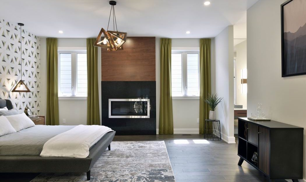 Models at Pathways at Findlay Creek Phoenix Klondike master bedroom fireplace Ottawa new homes