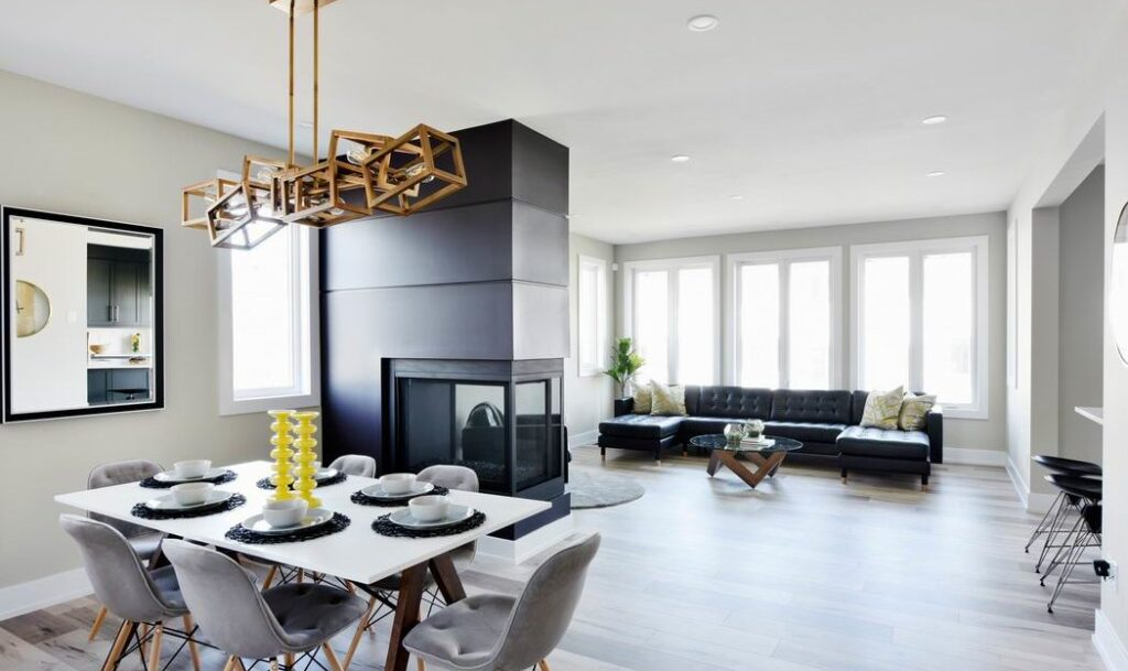 Models at Pathways at Findlay Creek Phoenix Melbourne living room dining room fireplace Ottawa new homes