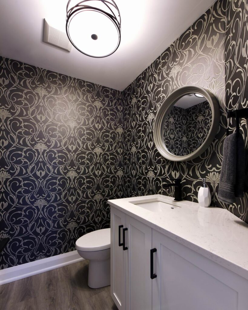 Amsted Design-Build Glebe renovation Reno Tour 2019 powder room wallpaper