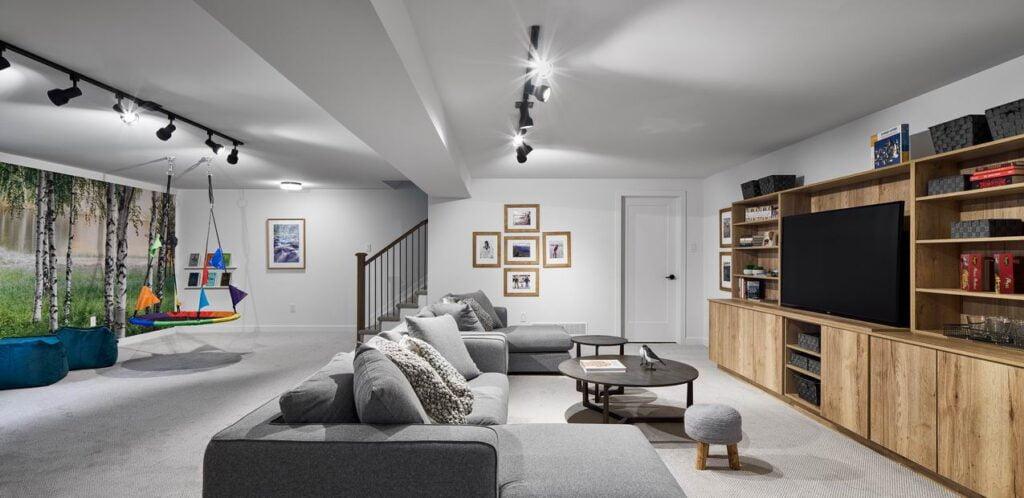 basement rec room sofa