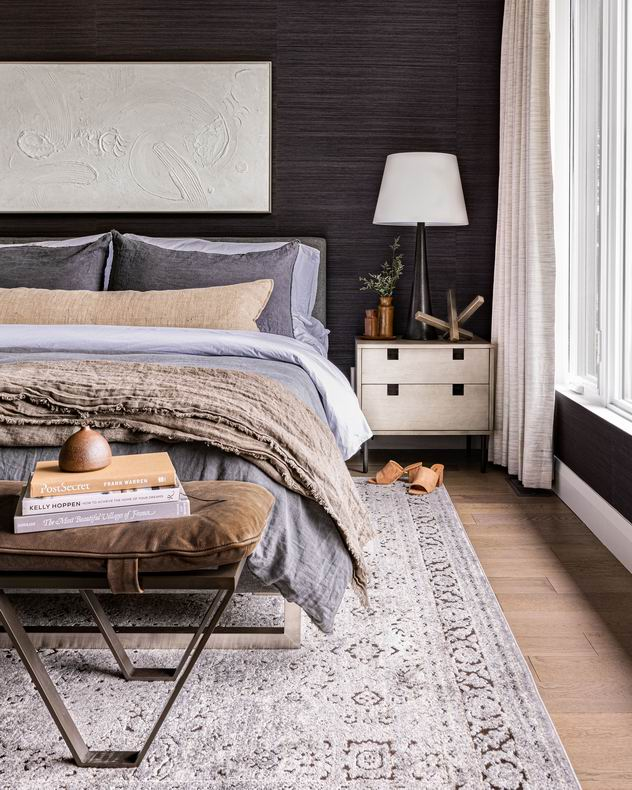 Moody palettes West of Main bedroom 2021 Ottawa housing and design trends