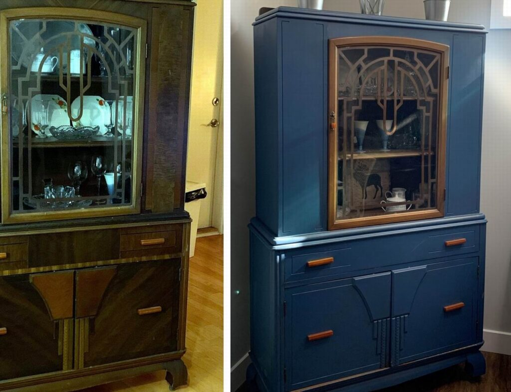 before and after painted cabinet