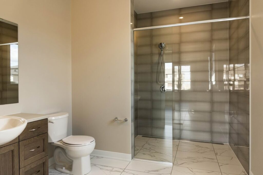 accessible bathroom curbless shower Ottawa new homes Cardel Homes Lancaster Independence option