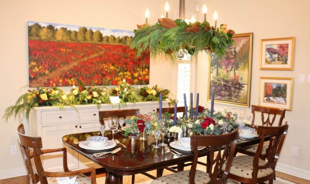 Homes for the Holidays Flowers Talk Tivoli Christmas decorating dining room