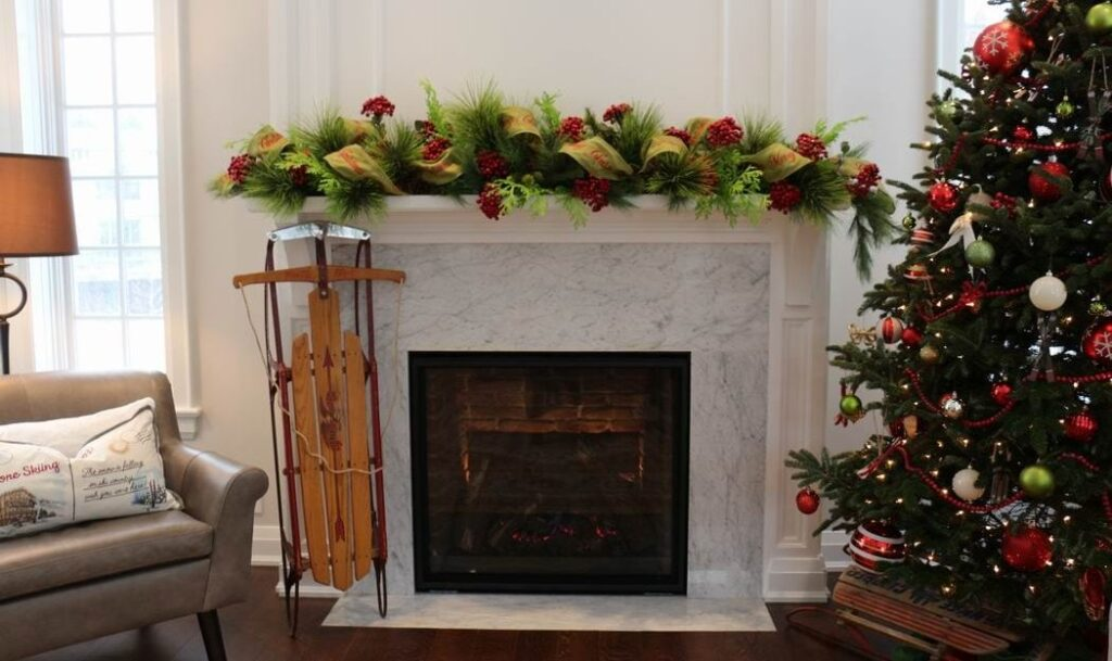 Homes for the Holidays Scrims Florist Christmas decorating mantel garland