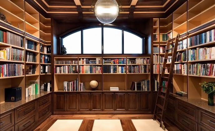 library Ottawa homes woodwork panelling built-in shelving