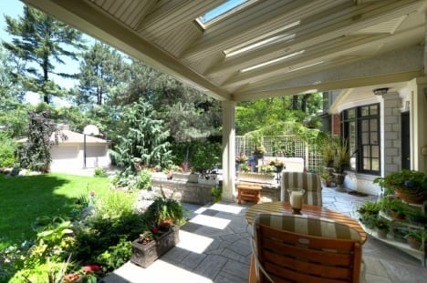 how to create outdoor spaces covered patio sitting area Sue Pitchforth backyard lounge