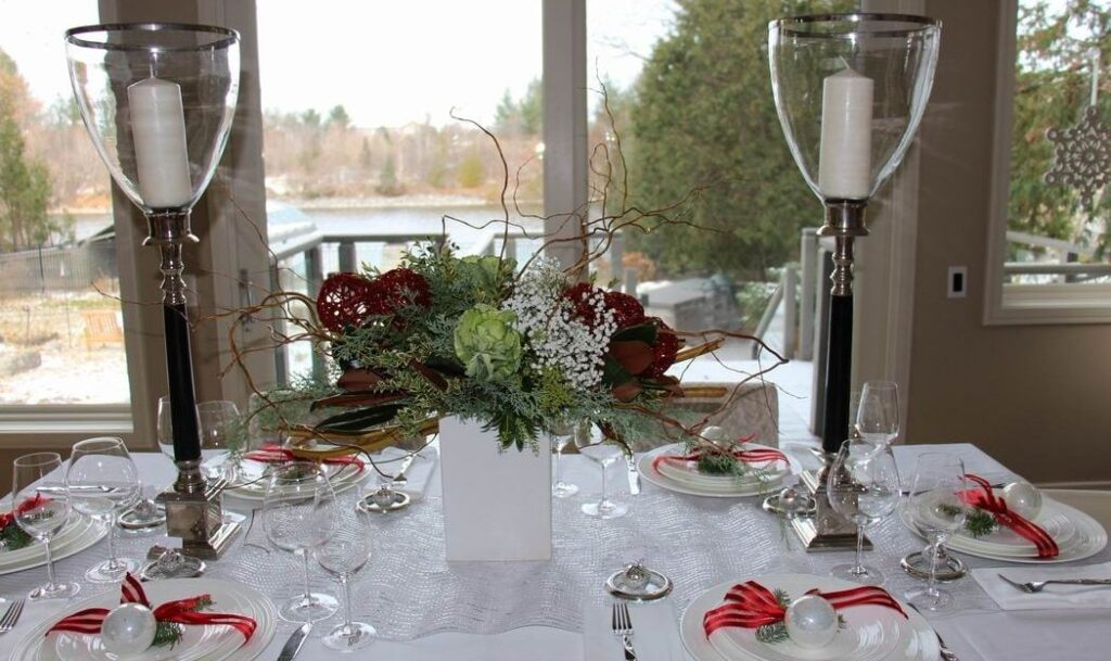 Homes for the Holidays Stoneblossom Floral Gallery Christmas decorating dining table